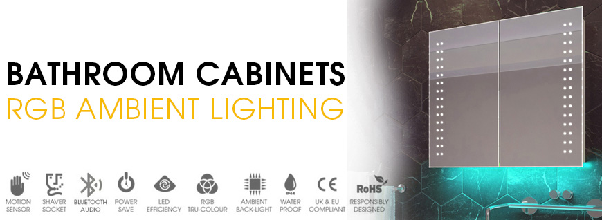 LED Bathroom Cabinets with RGB Ambient Lighting