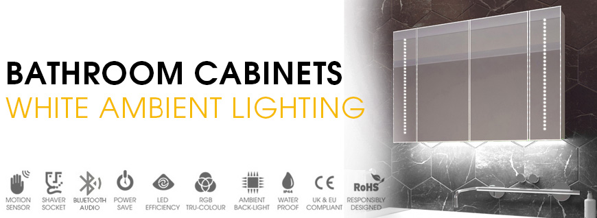 LED Bathroom Cabinets with White Ambient Lighting