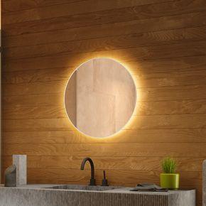 Audio Round Backlit Bathroom Mirror